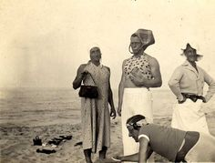 Roll film print of German Luftwaffe soldiers in drag, on the beach in Denmark (c. 1942)