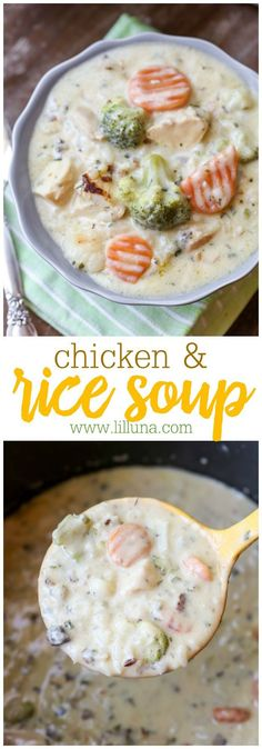 Low Carb Recipes To The Prism Weight Reduction Program Hearty Chicken And Rice Soup - Filled With Chicken Chunks, Veggies, Cream Cheese, Spices And More. It's Delicious And Perfect For Cooler Weather Cooker Recipes, Crockpot Recipes, Soup Recipes, Chicken Recipes, Recipes With Chicken Chunks, Recipies, Chicken Rice Soup, Chicken Soups, Soup And Sandwich