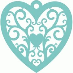 Silhouette Design Store - View Design #36430: scroll heart ornament