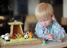 Instead of gingerbread house, make a nativity... great idea!