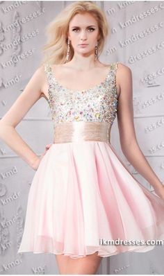 ramatic multicolored jeweled stones detailed short scoop neck chiffon dress Pink Dresses http://www.ikmdresses.com/dramatic-multicolored-jeweled-stones-detailed-short-scoop-neck-chiffon-dress-p60808