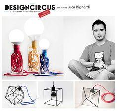 """X-Mas Edition / 13 -14 Dicembre 2014 / Open: 10.00 > 20.00 Originali, semplici e con un occhio al riciclo: sono le lampade che Luca Bignardi firma con il brand Bigdesign. Luci che rispondono al motto  """"Less is more"""", e che combinano il potere della geometria con un tocco di colore."""