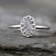 Too small for engagement, but pretty. Raw Diamond Engagement Ring – Crown Style – Sterling Silver – Rough Uncut Diamond Rings – April Birthstone - Made in Canada