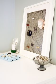 Earring organizer; you can use pin boards with hooks also and place into a nice frame!!!! hum....
