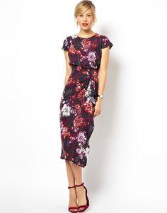 ASOS | ASOS Pencil Dress With Waterfall Skirt In Floral Print at ASOS