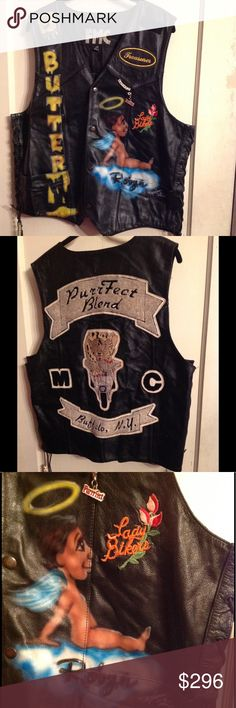 Bad Ass Vest Butter was one Bad Ass Biker, Vintage, loved, worn, broken in, bad ass, FMC, First Manufacturing Co., leathers, perfect vintage condition, motorcycle, moto leather, vest, lady bikers, airbrush artwork 1981, custom, lady gang, treasurer, PurrFect Blend, cougar, cheetah, panther, patches, Buffalo,NY, Robyn 😇, kitty, pony beads, tassels, laceup sides, Sponge Bob........This vest is so rad i just wish i had the opportunity to know Butter im certain she was a motha fkn kick as broad…