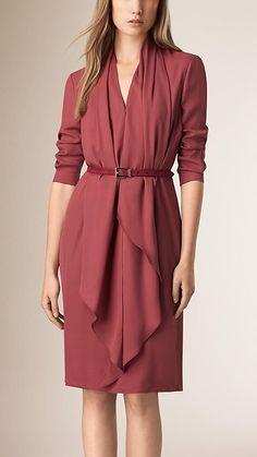 Dusty peony rose Drape Detail Silk Dress - Burberry