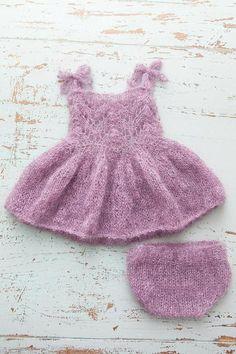 PDF Knitting Pattern - Newborn Mohair fairy dress and bloomers PDF SET Christmas Knitting Patterns, Baby Knitting Patterns, Romper Pattern, Knitted Baby Clothes, Mohair Yarn, Fairy Dress, Knitting For Kids, Baby Sweaters, Knit Crochet