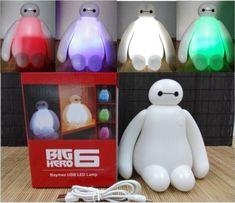 2015 Color Changes 15cm Big Hero 6 Baymax USB LED Table Desk Lamp Light Kids Toy