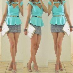 Peplum power. What an interesting cut out! Longer skirt for me, obvs