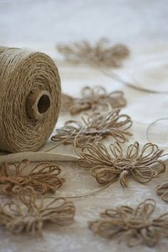 Twine flower tutorial. Simple. And can be added to cards, gift wrapping, etc.