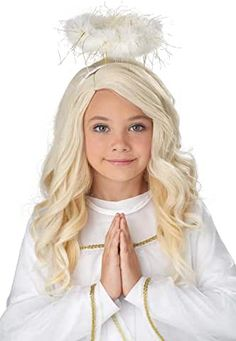 Complete your angel costume with this Girl's Guardian Angel Wig. The perfect blonde wig for the perfect Guardian Angel. Kids Angel Wings, Christmas Costumes, Halloween Costumes, Childrens Wigs, Angel Halo, Blonde Wavy Hair, California Costumes, Perfect Blonde, White Tutu