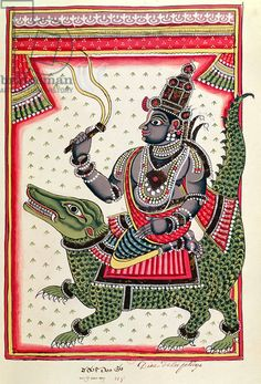 Varuna, God of the Oceans (gouache on paper). Andhra painting.