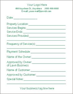 Free Lawn Care Contract Forms - lawn maintenance contract agreement