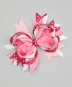 Another great find on #zulily! Pink Swiss Dot Princess Bow Clip by Picture Perfect Hair Bows #zulilyfinds