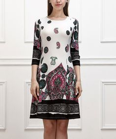 This White & Black Paisley Shift Dress by Reborn Collection is perfect! #zulilyfinds