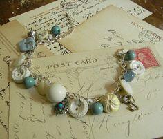Vintage Button Charm Bracelet Blue and White OOAK by CarolinaRoses, $32.00