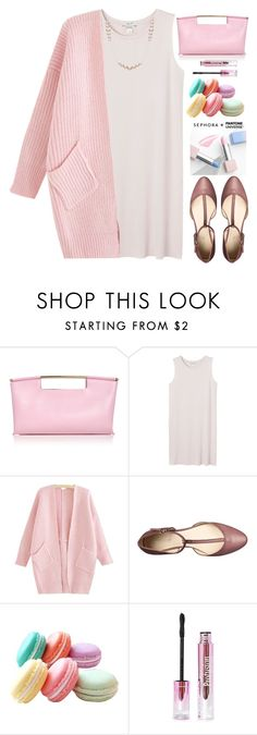 """Pink Flats"" by grozdana-v ❤ liked on Polyvore featuring Delpozo, Monki, Nine West, Sephora Collection, DaVonna, women's clothing, women's fashion, women, female and woman"