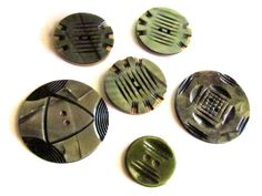 Lot Of 5 Carved & Layered Celluloid Wafer Buttons