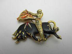 Bullfighter Brooch Pin Damascene Black Red Enamel Matador Bull Gold Tone Metal