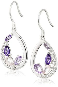 Sterling Silver Tonal Amethyst and White Topaz Dangle Earrings.More info for rhinestone earrings;gold drop earrings;amethyst earrings;wedding earrings;trendy earrings could be found at the image url.(This is an Amazon affiliate link and I receive a commission for the sales)