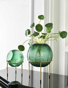 Emerald and grey hand blown glass spheres with opening serves as beautiful decor and vase for your home or event! House Plants Decor, Plant Decor, Flower Vases, Flower Arrangements, Flowers, Cheap Vases, Round Vase, Bath And Beyond, Raised Garden Beds