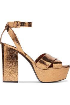 6f4711e37c55e Saint Laurent - Farrah metallic cracked-leather platform sandals. Strappy High  HeelsStrappy SandalsShoes ...