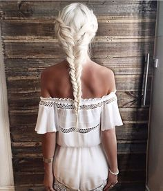 Hairstyle and playsuit.