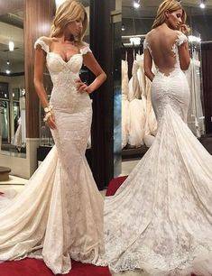Elegant V-neck Cap Sleeves Appliques Lace Mermaid Wedding Dress Chapel Train
