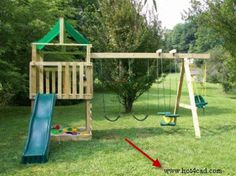 DIY swing set with plans: I love the sandbox in it!