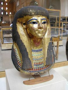 Gilded cartonnage funerary mask of Thuya  From her tomb in the Valley of the Kings  Thuya was the mother of Queen Tiy (principal wife of Amenhotep III)  Cairo Museum