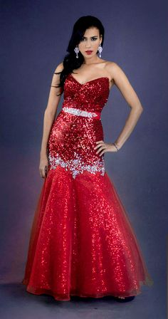 Feature your curves in this strapless red stunner from House of Hems division of Attitude Couture.