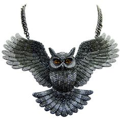 Butler & Wilson Large Crystal Open Wings Owl Necklace featuring Swarovski crystal, it fastens with a lobster clasp. Large Crystals, Stones And Crystals, Swarovski Crystals, Wing Necklace, Owl Necklace, Owl Jewelry, Jewelery, Jewelry Necklaces, Open Wings