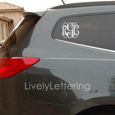 Custom Monogram Decal Sticker Decals Letters And Monogram Decal - Monogram car decal sizescar window monogram decalchickadees designs