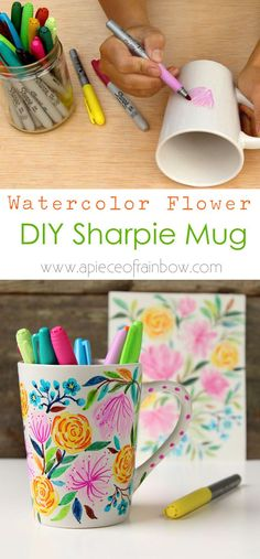 Create a beautiful watercolor flower DIY Sharpie mug that looks like hand painted Anthropologie ceramics! Video tutorial plus tips on durable finishes. - A Piece Of Rainbow http://www.apieceofrainbow.com/watercolor-flower-diy-sharpie-mug/2/