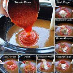 The BEST Homemade Enchilada Sauce (recipe includes slow cooker recipe for shredded beef enchiladas) YUM!