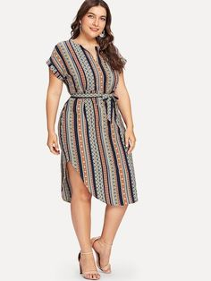 Shop Plus Curved Hem Tie Waist Striped Dress online. SheIn offers Plus Curved Hem Tie Waist Striped Dress & more to fit your fashionable needs. Curvy Fashion, Look Fashion, Plus Size Fashion, African Fashion Dresses, African Dress, Plus Size Dresses, Plus Size Outfits, Plus Size Casual, Types Of Dresses