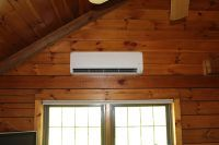 Fujitsu ductless mini split in a log cabin. Heating And Air Conditioning, House Renovations, Plumbing, Cabin, Cool Stuff, Mini, Cabins, Home Remodeling, Cottage