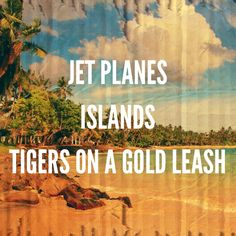 """""""Jet Planes, Islands, Tigers on a Gold Leash.""""  Royals by Lorde... love that song right now!"""