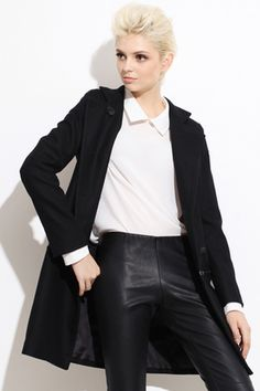 #Romwe Removable Band Collar Black Woolen Coat