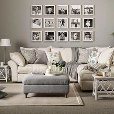 Vintage Decor Living Room Grey living room with cream sofa, grey footstool and picture gallery - Looking for neutral living room design ideas? Browse our gallery of neutral living rooms including ideas for living room flooring and wallpapers Home Living Room, Apartment Living, Living Room Designs, Cream Living Room Decor, Cozy Apartment, Corner Sofa Living Room, Kitchen Living, Living Room Decor Walmart, Dining Room