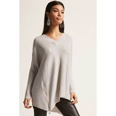 Forever21 Oversized Ribbed Sweater ($45) ❤ liked on Polyvore featuring tops, sweaters, light grey, forever 21 sweaters, ribbed long sleeve top, zip front sweater, oversized v neck sweater and v neck sweater