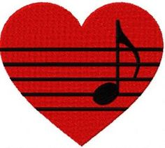 Heart music free machine embroidery design. Machine embroidery design. www.embroideres.com