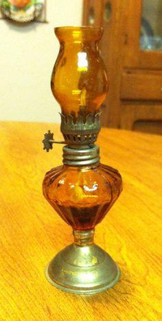 Miniature Amber Oil Lamp