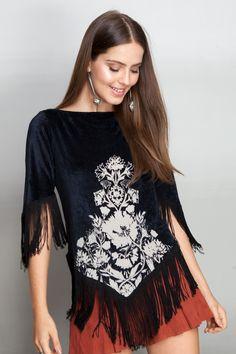 túnica veludo devorado | Dress to