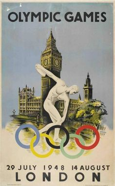 This year will be London's third time hosting the Summer Olympics. Here's a poster from London's 1948 Games, which were the first after a 12-year hiatus because of World War II.