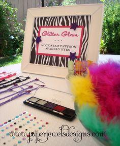 Rock Star Birthday Party Glam Station ~ www.paperjewelsdesigns.com