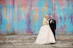 Detroit wedding photos - drip wall - by kellie saunders, michigan wedding photographer