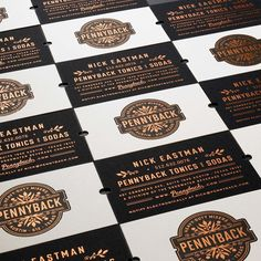 Pennyback Tonics & Sodas by Chad Michael Studio Design Inspiration Roundup - From up North Brand Identity Design, Branding Design, Logo Design, Graphic Design, Business Card Design, Business Cards, Cocktail Mixers, Wine Design, Logo Maker