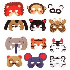 Black Friday 12 Assorted Foam Animal Masks for Birthday Party Favors or Dress-up Costumes from Rhode Island Novelty Cyber Monday Zoo Birthday, Animal Birthday, 2nd Birthday Parties, Jungle Party, Farm Party, Jungle Safari, Safari Theme, Fantasias Up, Kids Crafts